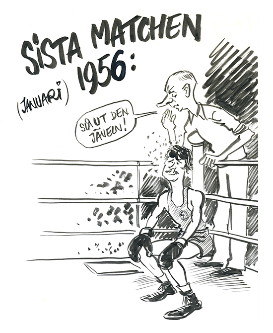 23bea759da29 Börje gick sin sista match 1956 och gjorde naturligtvis senare en teckning  på det. Seconden är Gustaf